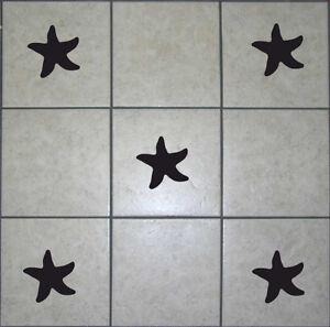 16 starfish tile stickers transfer decals for bathroom for Adesivi mattonelle