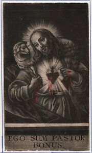 Jesus-Christi-Ego-Sum-Pastor-Bonus-Hirte-Herz-Heiligenbild-Koloriert-O-8098
