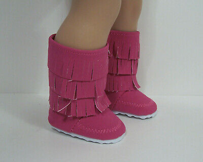 """Hot Pink Moccasin Boots Fringe for 18/"""" American Girl Doll Clothes"""
