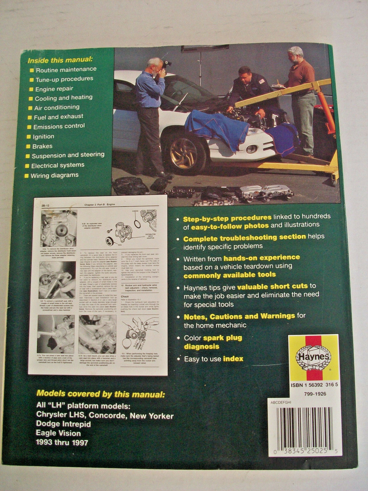 Haynes Manuals: Haynes Chrysler LHS, Concorde, New Yorker-Dodge Intrepid  and Eagle Vision, 1993-97 by John Haynes and Mike Stubblefield (1998,  Paperback) | ...