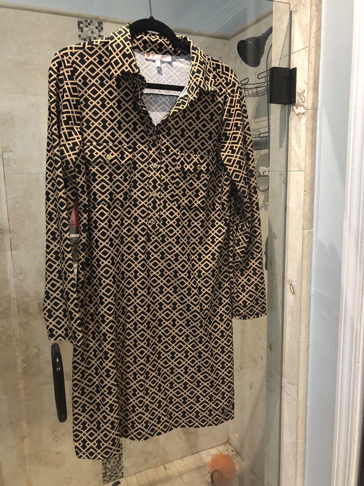 Neuer Jude Connally Dress schwarz schwarz schwarz Ran braun Gold Geometric Print Größe M Medium 2d2