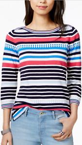Tommy Hilfiger Damen Boot Ausschnitt Gestreift Strukturiert Pullover Navy Kombo
