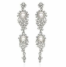 Long Pearl Silve Austrian Crystal Rhinestone Chandelier Dangle Earring Prom E105