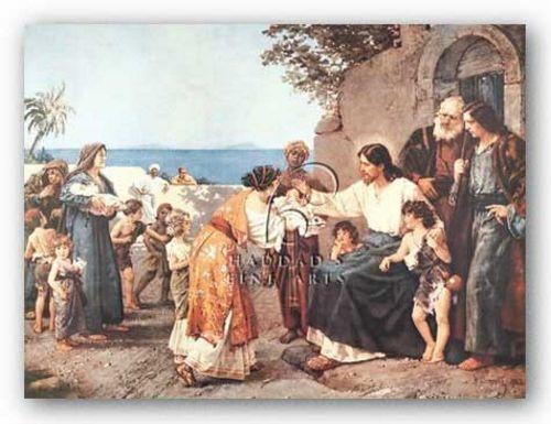 RELIGIOUS ART PRINT Christ Blessing the Children H Clementz