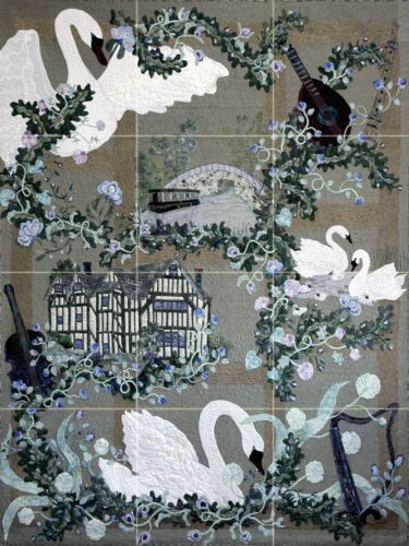 18 x 24 Contemporary Art Swan Romance Mural Ceramic Backsplash Bath Tile #2418