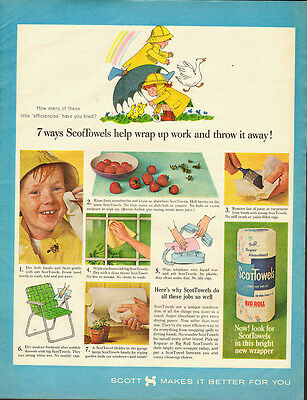 1964 Vintage ad for SCOTT towels`Art`Cute`LIttle boy, Rain Coat