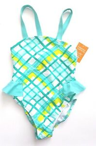 NWT-Gymboree-DESERT-DREAMS-6-Teal-Dip-Dye-Yellow-Checked-One-Piece-Swimsuit-Bow