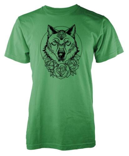 Wolf Flower Roses Tattoo Style Dog Kids T Shirt
