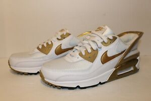 Nike-Air-Max-90-FlyEase-Shoes-White-Metallic-Gold-CU0814-100-Men-s-Size-10