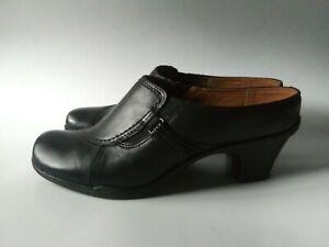 EARTH-SPIRIT-Classics-Size-9-Women-039-s-Black-Leather-Emily-Clogs-Mules-Heel-Shoes