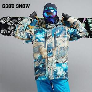 32d7c2e065 Image is loading GSOU-SNOW-Men-039-s-Snowsuits-Waterproof-Skiing-
