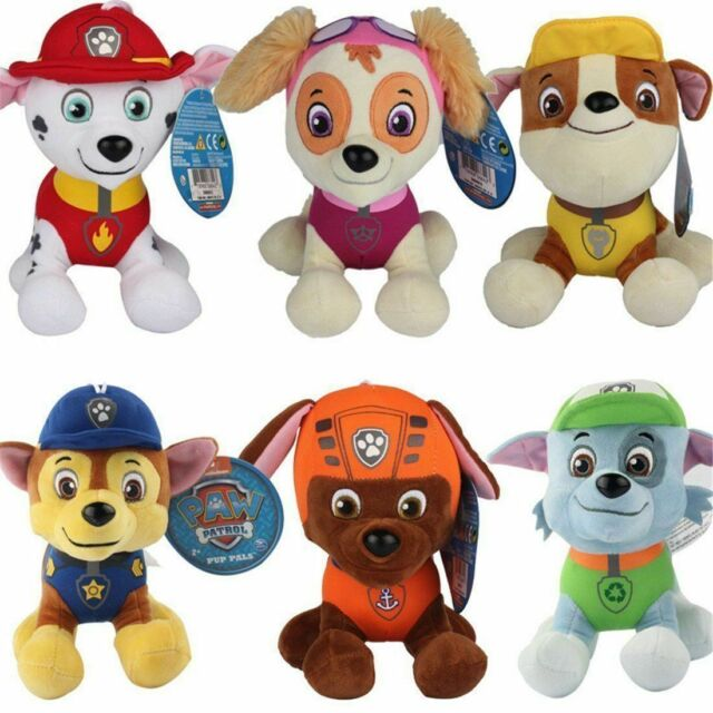 "12CM 4.7"" PAW PATROL Complete SET of 6 Cute Dogs Doll Plush Toy Chase Zuma Skye"
