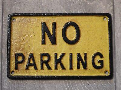 No parking Display Cast Iron Antique Vintage Sign Badge Wall Public Car Logo