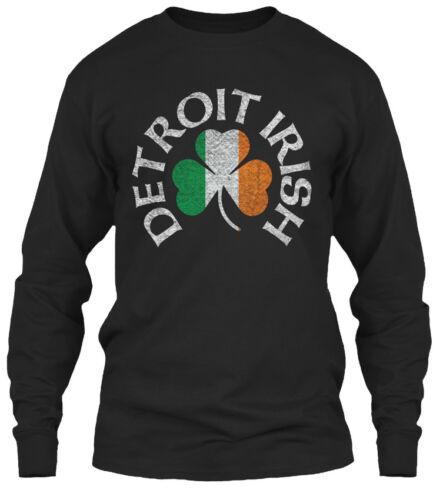 New Detroit Irish Shamrock Apparel Gildan Long Sleeve Tee T-Shirt