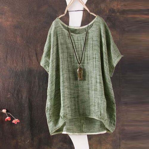 Frauen Sommer Plain Scoop Neck Kurzarm Retro T-shirt Bluse Tee Tops