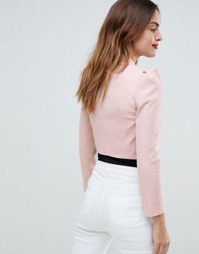 Pastel Blazer Size Shawl Karen Jacket Uk Collar Crop Pink 10 Micro Millen wqxqIRCO