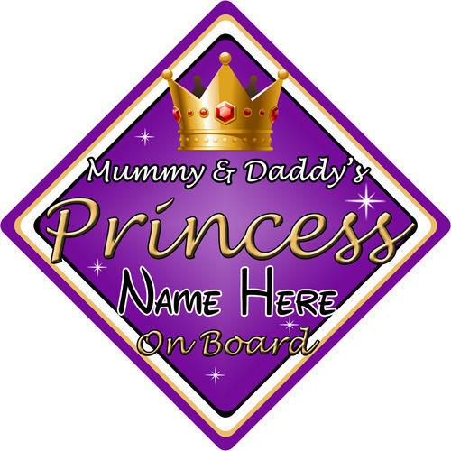 Personalizado De Niño//Bebé A Bordo Coche Firmar ~ Momia /& Papi está Princesa ~ púrpura