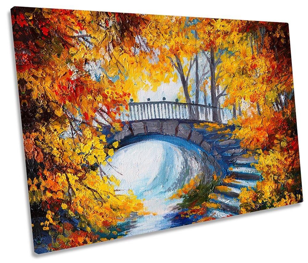 PONTE Arancione Autunno Paesaggio incorniciato Tela Singola Stampa Wall Art
