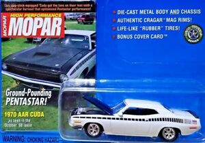 JOHNNY-LIGHTNING-MOPAR-HIGH-PERFORMANCE-1970-PLYMOUTH-AAR-CUDA-WHITE-1-64-Scale