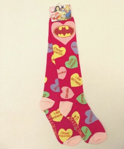 Womens DC Comics Valentine Knee High Socks I Am Batman Conversation Candy Heart