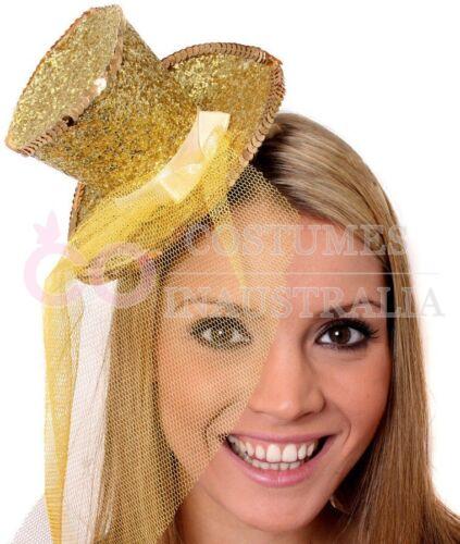 Ladies Fever Mini Glitter Top Hat On Headband Black Silver Pink Gold Red Purple