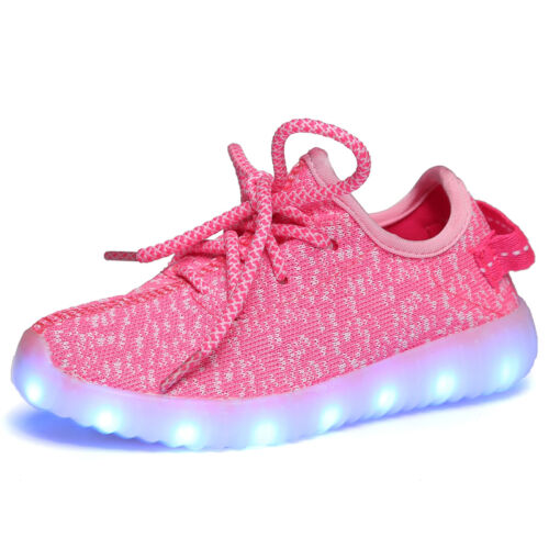UK Boys Girls LED Light Up USB charge Knitted Trainers Luminous Sneakers Shoes