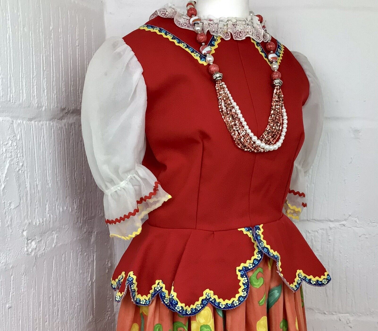 Harlequin Collection Red Vintage Theatre Costume Blouse Top Girls Women's 8/10