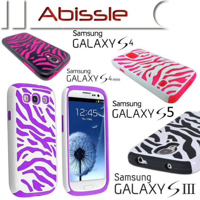 Heavy Duty 2 Pce Durable Zebra Case Cover for Samsung Galaxy S3 S4 S5 S4 mini