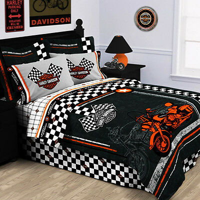 Racing Flag Pillow Shams Set Of 2, Harley Davidson Queen Size Bed Sheets