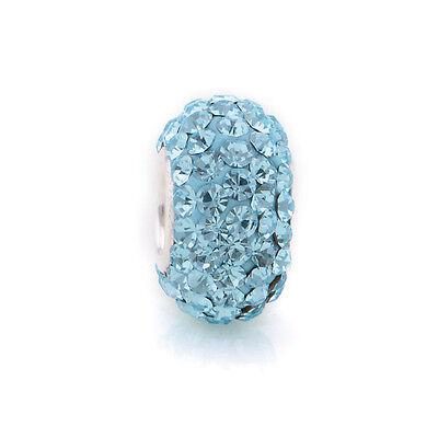 JADE GREEN Sparkling Czech Crystal Charm Bead for Bracelet Sterling Silver