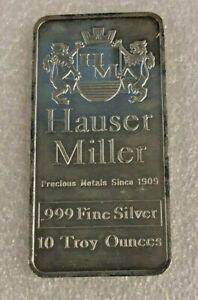 10 oz. Rare Silver Hauser Miller .999 fine silver bar