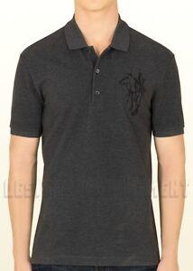 78fd6e86a92f GUCCI Mens XXL gray HORSE & Logo EMBROIDERY cotton Pique POLO shirt ...