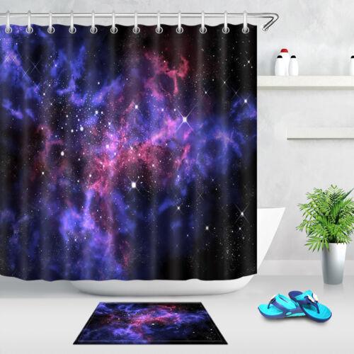 "Blue Glitter Purple Nebula Fabric Shower Curtain Liner Bathroom Accessory 71//79/"""