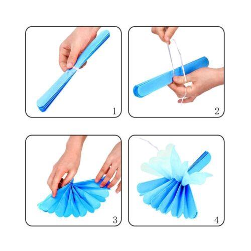 """8/"""" 12 Pcs Gris Blanc Bleu Clair Papier Tissu Pompons Pompon Décoration"""