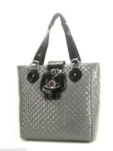 Image Is Loading Guess Grey Black Patent Quilted Tote Handbag Work
