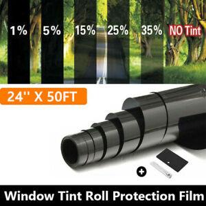 """Uncut 24"""" x 50FT Roll Window Tint Film 20% VLT Shade Car Privacy Film Tools Kit"""