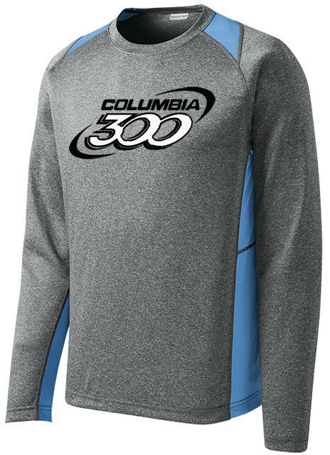 Columbia 300 Men's Bully Bowling Long Sleeve Shirt Dri-Fit Heather Carolina bluee