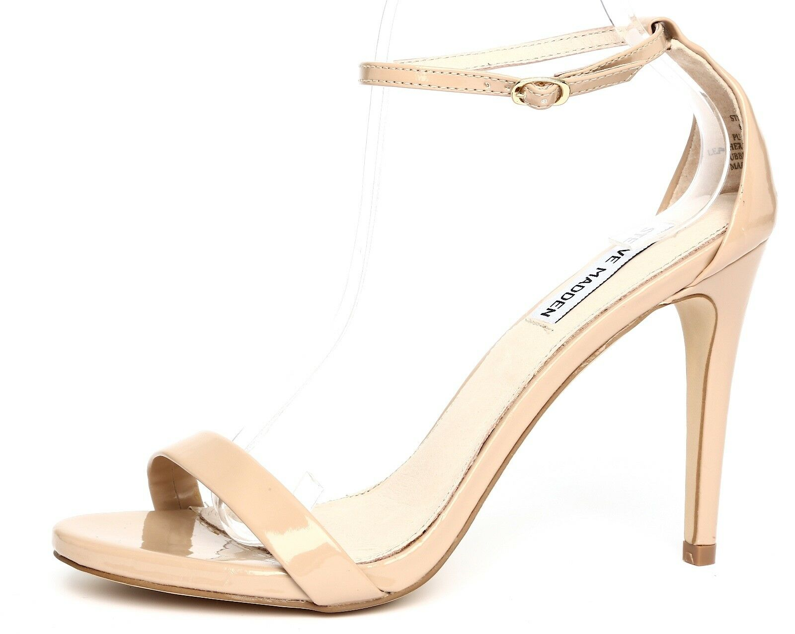 Steve Madden Stecy Patent Leather Nude Ankle Strap Sandal Heels Sz 8.5M 1013