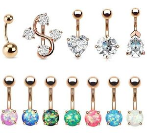 Details About Rose Gold Belly Bar Large Cz Heart Teardrop Round Reverse Opal Navel Piercing