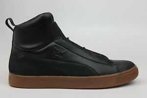 PUMA X NATUREL CLYDE FASHION MID BLACK LEATHER BROWN MENS SNEAKERS ... a5f3fd7f7