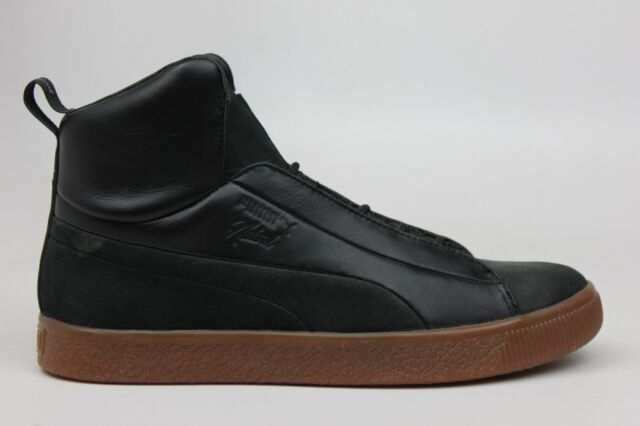 newest c4435 aac7b PUMA X NATUREL CLYDE FASHION MID BLACK LEATHER BROWN MENS SNEAKERS 364453-01