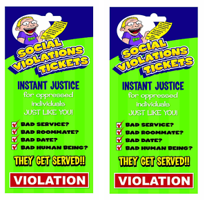 8 DIFFERENT TICKETS LOT OF 2 Big Mouth Inc Prank Social Violation Tickets