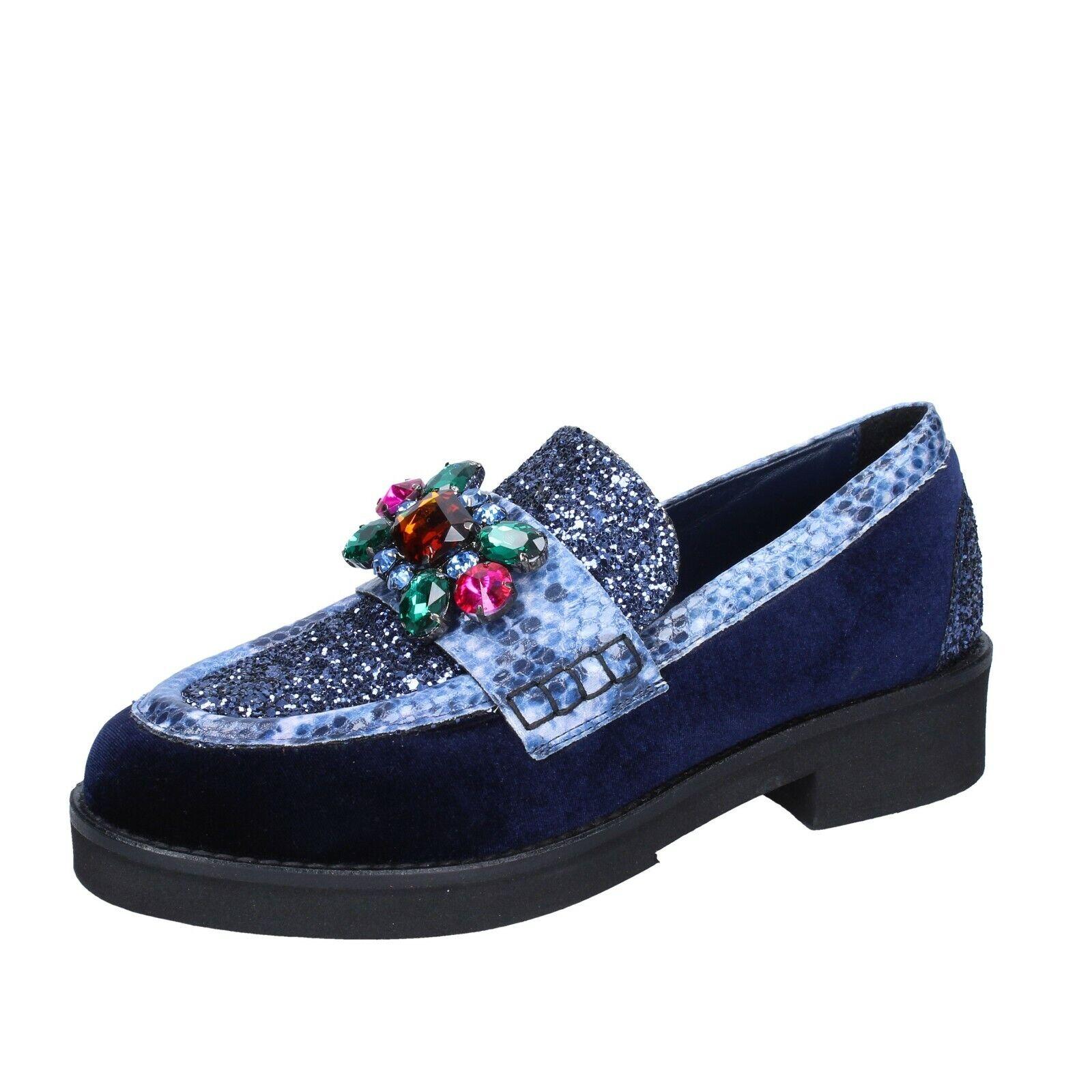 Chaussures femmes Paolina Perez 6 (UE 36) Mocassins velours bleu paillettes BR14