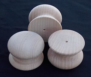 Pack-of-10-Large-Drilled-Wood-Beech-Knobs-Handles-46mm-TS