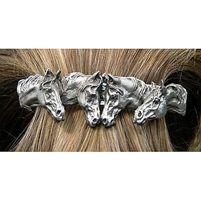 HORSE JEWELRY hair or scarf clip barrette Pewter four horses Direct From Artist!