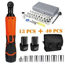38 14electric Cordless Ratchet Wrench Impact Power Tool 2 Battery41 Sockets