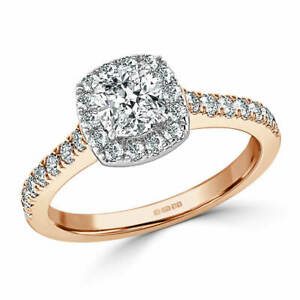 1.20 Ct Cushion Moissanite Anniversary Ring Solid 18K Rose Gold ring Size 8 9
