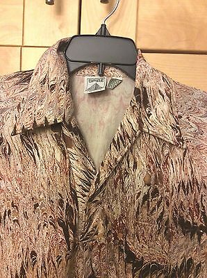Vintage Spire Disco Men's Brown Swirled Paint Design Polyester Pullover Shirt M