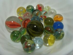25-Vintage-Classic-Cats-Eye-Marbles-Multicolor-Shooters-Pee-wee-Gift-Play-Toys
