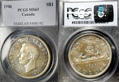 raro Calidad 63 original Tonificación,alta Calidad,bajo Initiative Canadá 1946 Dólar